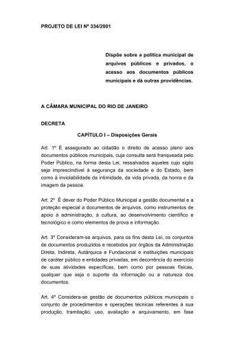 PROJETO DE LEI Nº 334/2001 Dispõe sobre a política ... - rio.rj.gov.br