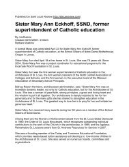 Sr. Mary Ann Eckhoff, SSND - Archdiocese of St. Louis