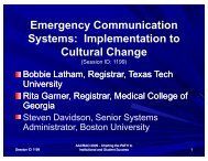 Emergency Communication Systems: Implementatin to ... - AACRAO