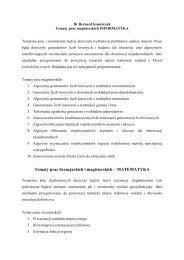 Tematy prac licencjackich i magisterskich – MATEMATYKA