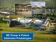 Zdolności Produkcyjne BE Group w Polsce