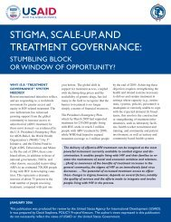 Stigma, Scale-up, and Treatment Governance - POLICY Project