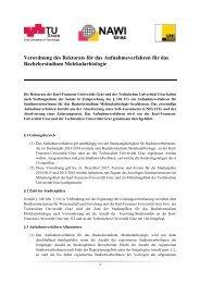Verordnung des Rektorats für das Aufnahmeverfahren für das ...