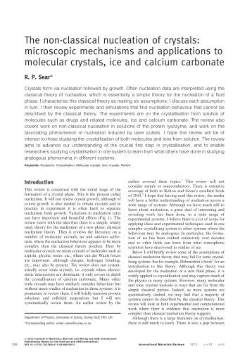 The non-classical nucleation of crystals: microscopic mechanisms ...