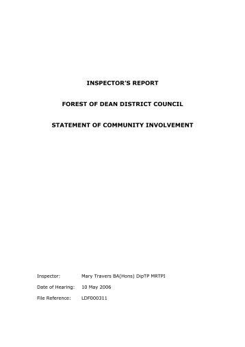 inspector's report forest of dean district council statement of ...