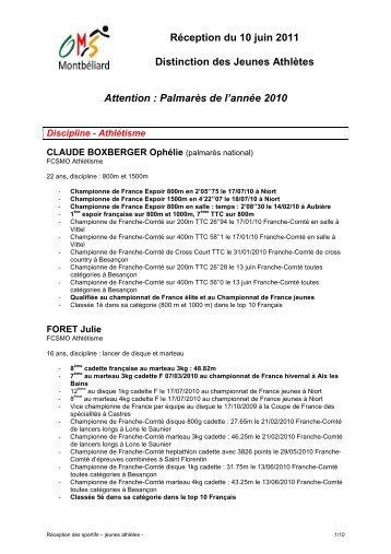 Médailles JEUNES ATHLETES du 10-06-11 - Montbéliard