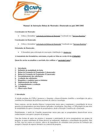 Manual de Instruções Bolsas de Mestrado e Doutorado no ... - Unesp