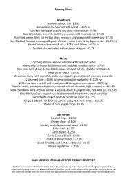 Evening Menu Appetizers Smoked salmon trio - £6.95 Homemade ...