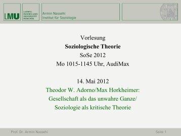 Theodor W. Adorno - Lehrstuhl Prof. Dr. Armin Nassehi