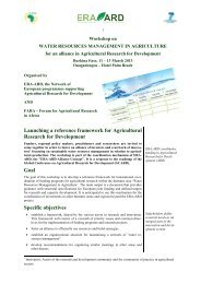 Launching a reference framework for Agricultural ... - ERA ARD