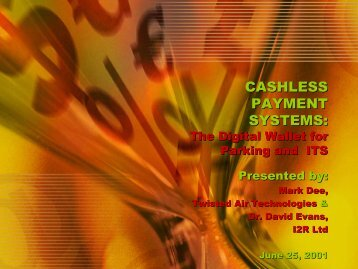 Cashless Payment Systems - World Parking Symposium