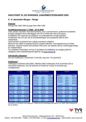 KRAVTIDER TIL DE NORDISKE JUNIORMESTERSKABER 2009 5 ...