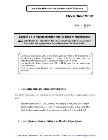 Rappel de la réglementation sur les fluides frigorigènes