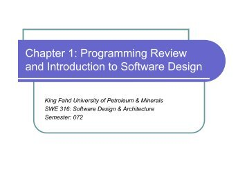 Chapter 1: Programming Review and Introduction to Software Design