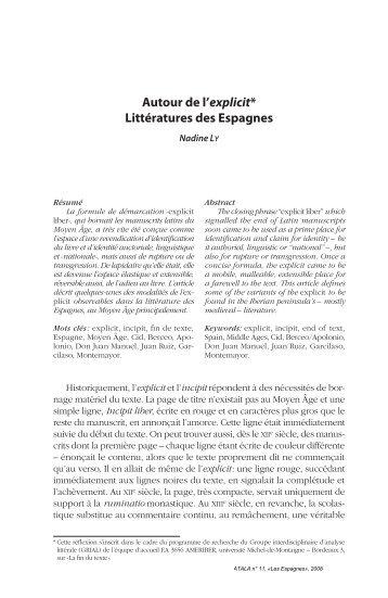 autour de l'explicit* littératures des Espagnes - Lycée Chateaubriand