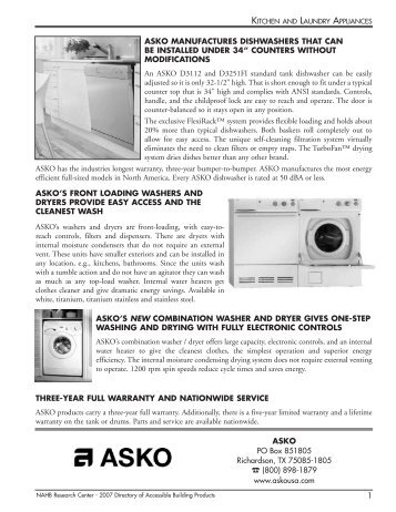 asko manufactures dishwashers that can be installed under