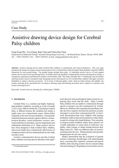 Assistive Drawing Device Design For Cerebral Palsy Children