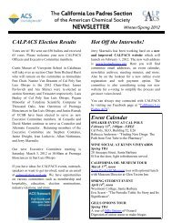 Newsletter - Winter 2012 - Department of Chemistry and Biochemistry