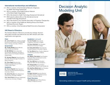Decision Analytic Modeling Unit - Institute of Health Economics