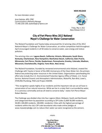 City of Fort Pierce Wins 2012 National Mayor's Challenge for Water ...