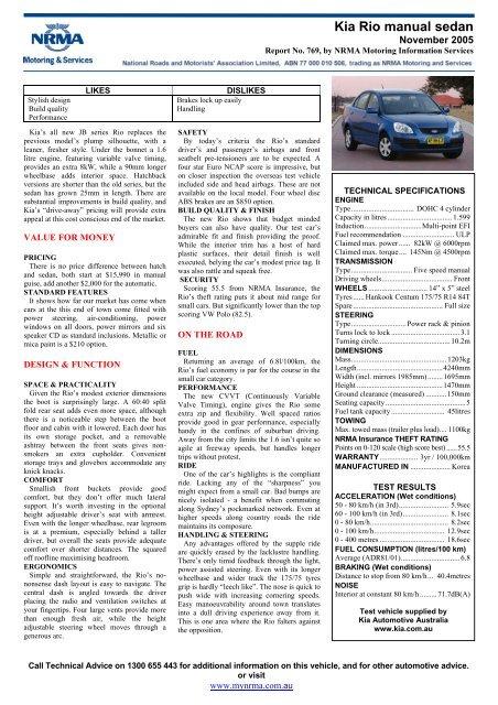 Kia Rio manual sedan