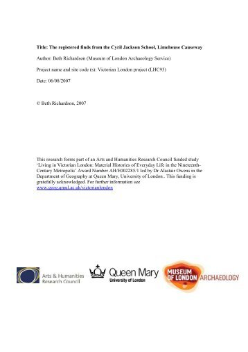 Registered finds report - Geography - Queen Mary, University of ...