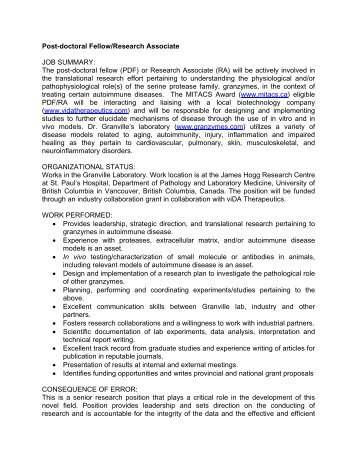 The post-doctoral fellow (PDF) or Research Associate