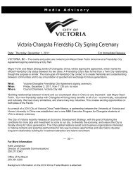 Victoria-Changsha Friendship City Signing Ceremony [PDF - 143 KB]