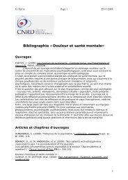 Bibliographie «Douleur et santé mentale» - CNRD