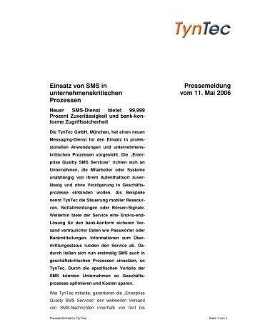 Pressemeldung vom 11. Mai 2006 Einsatz von SMS in ... - Tyntec