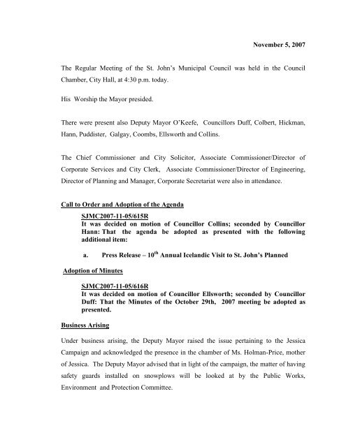 Council Minutes Monday, November 5, 2007 - City of St. John's
