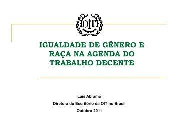 Veja a íntegra da palestra da Diretora Laís Abramo - OIT