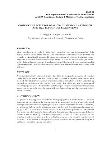 COHESIVE CRACK PROPAGATION: NUMERICAL APPROACH ...