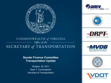 Senate Finance Committee Transportation Update - Virginia Senate ...