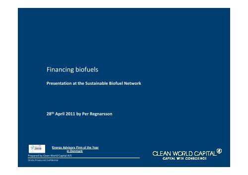 Financing biofuels - Bioenergi
