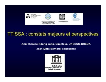 TTISSA : constats majeurs et perspectives - ADEA