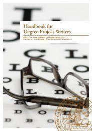 Handbook for Degree Project Writers - Student LTH - Lunds ...