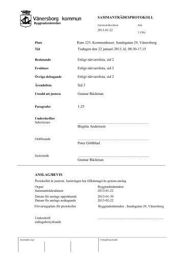 Byggnadnämndens protokoll 2013-01-22.pdf - Vänersborgs kommun