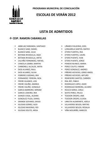 ESCOLAS DE VERÁN 2012 LISTA DE ADMITIDOS - Concello de ...