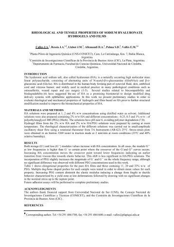 rheological and tensile properties of sodium hyaluronate hydrogels ...