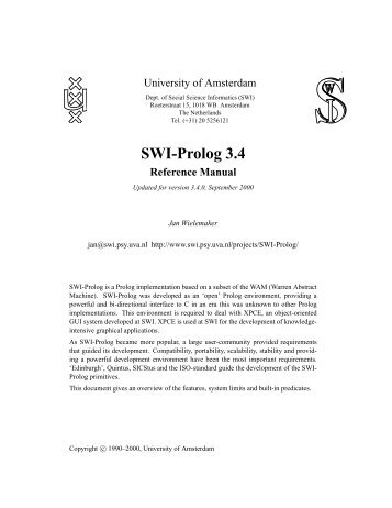 SWI-Prolog 3.4 Reference Manual - Natural Language Processing Lab