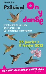 Programme On y danse 2013 - Centre Wallonie-Bruxelles