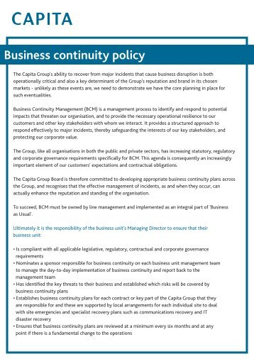 Business Continuity policy.qxd - Capita Symonds