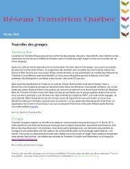 Bulletin # 11 - Réseau Transition Québec