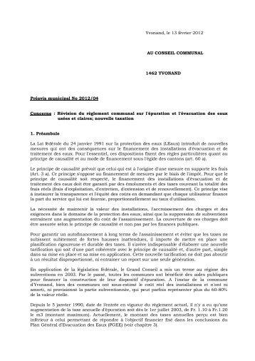 Préavis 2012/04 Révision du règlement communal sur l ... - Yvonand