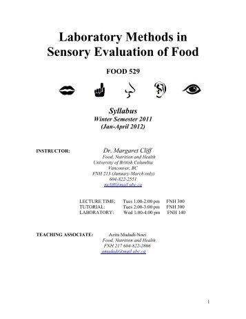 Sensory Evaluation of Food - courses.landfood.... - University of ...