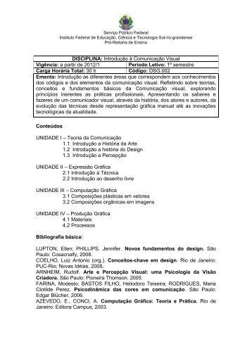 Introdução à Comunicação Visual Vigência: a partir de 2012/1 ...