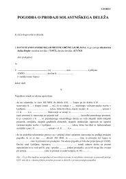 Vzorec - Pogodba o prodaji solastniškega deleža - Ljubljana