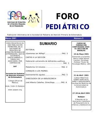 Número 5. Marzo 2001 - Sociedad de Pediatría de Atención ...