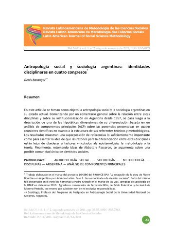 Antropología social y sociología argentinas: identidades ...